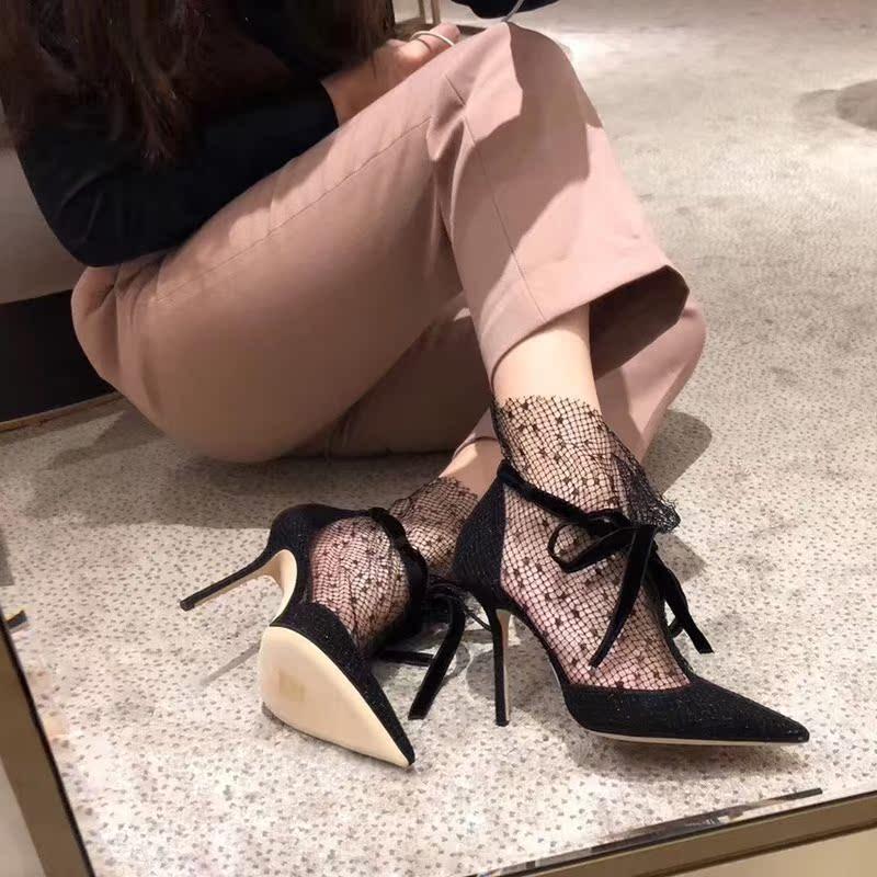 尖头细跟凉鞋女包头蝴蝶结新款黑色网纱蕾丝宴会高跟鞋欧洲站女鞋