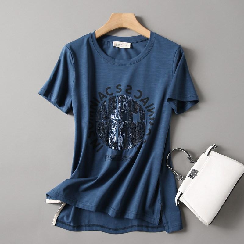 欧洲站女装欧货竹节棉宽松t恤女士短袖女2020年夏季新款半袖上衣