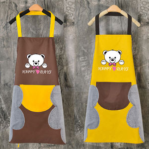 Apron Kitchen Waterproof Oil-proof Antifouling Single Layer With Sleeve Personality Big Pocket Kitchen Clothes Retro Anti-scald New Clean