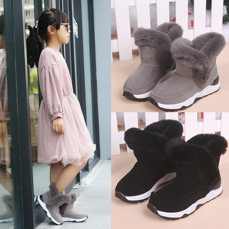 儿童雪地靴女童短靴2018秋冬季新款加绒保暖亲子靴英伦风公主靴潮