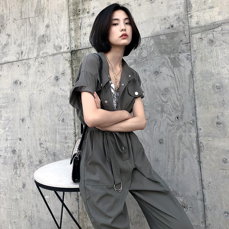时尚 工装 连体 新款 夏收 宽松 军绿色 九分 衣裤