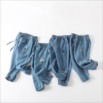 儿童防蚊裤男童夏装薄款牛仔裤子新款夏宝宝女童洋气灯笼裤束脚