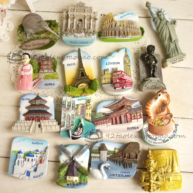 【2个包邮】世界各国景点旅游纪念创意3d立体冰箱贴磁贴 磁铁装饰