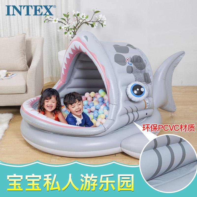 intex充气婴儿童海洋球池围栏室内彩色球波波球池宝宝玩具1-2周岁