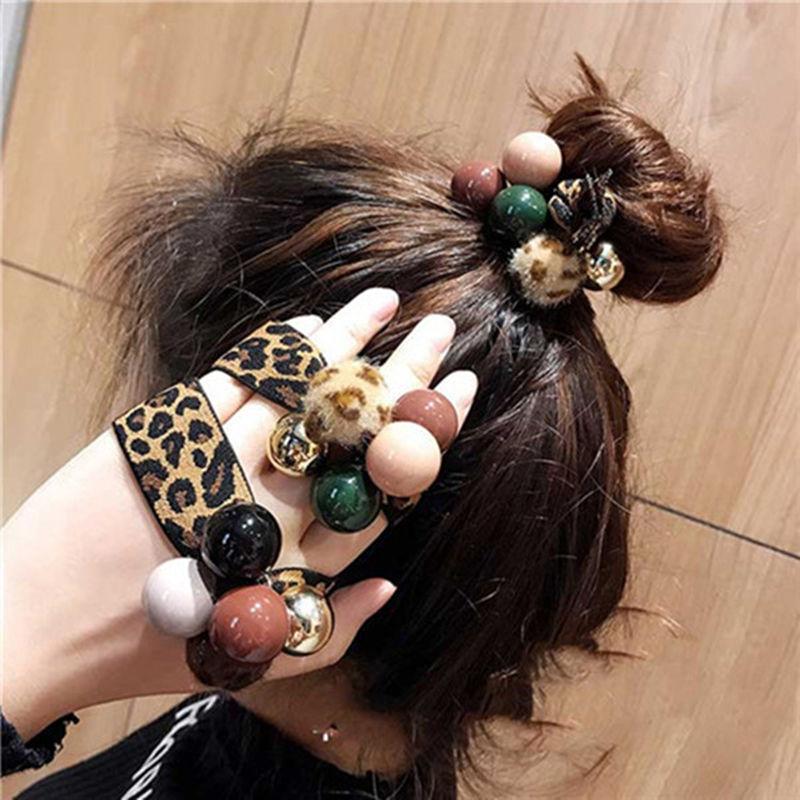 韩国东大门网红可爱扎头发女皮筋发绳发饰品韩版头绳简约豹纹发圈