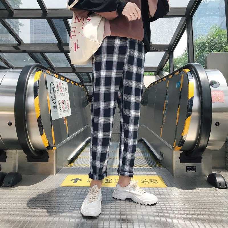 冬季情侣加绒加厚格子裤ulzzang休闲裤男韩版小脚直筒长裤潮黑白