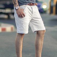 夏装特价白色牛仔qs5 微弹力qw中裤 男装机车牛仔短裤K771