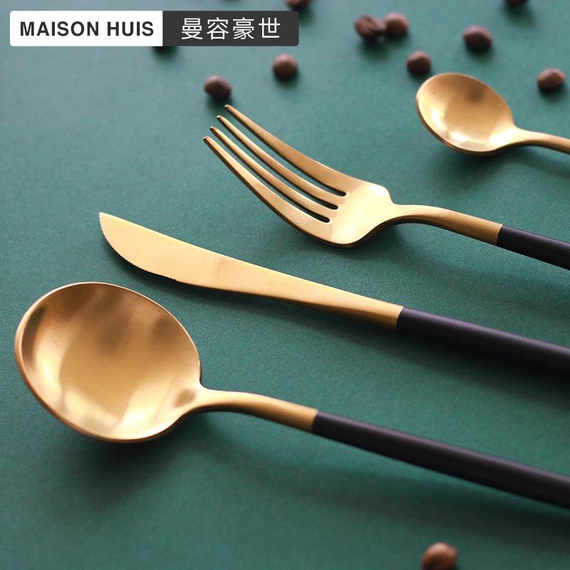 牛排刀叉勺三件筷子家用全套装北欧网红ins风不锈钢金色西餐餐具
