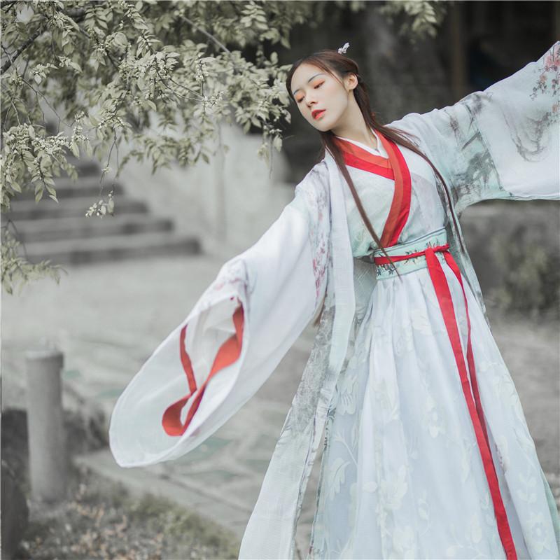 银狐齐腰汉服女古装魏晋风学生中国风交领襦裙广袖流仙裙套装秋装
