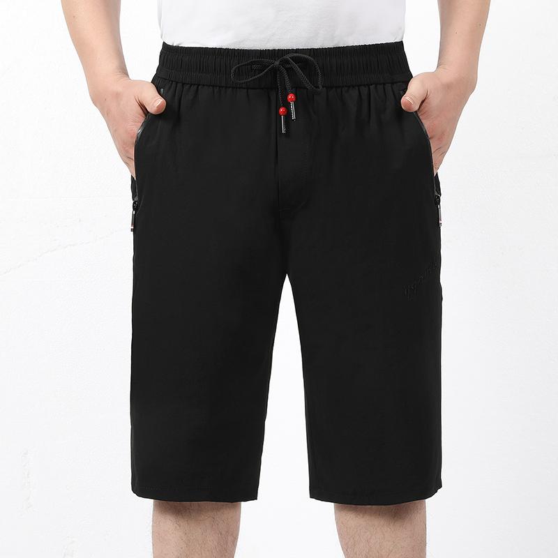 夏季男士薄款冰丝七分裤宽松大码速干裤中老年休闲沙滩裤爸爸短裤