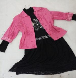 品牌黑亮片刺绣蕾丝外单灰蓝多层米卡其编织毛球长袖背心针织裙特图片