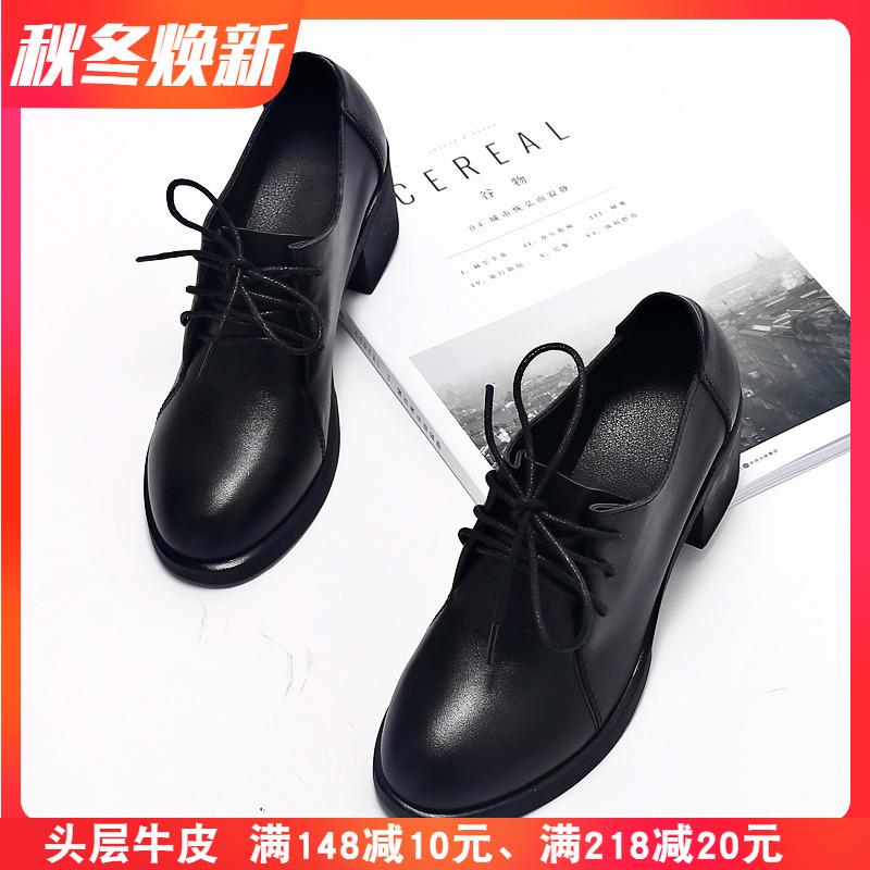 春秋季新款英伦黑色小皮鞋女中跟真皮圆头系带工作鞋粗跟单鞋女鞋