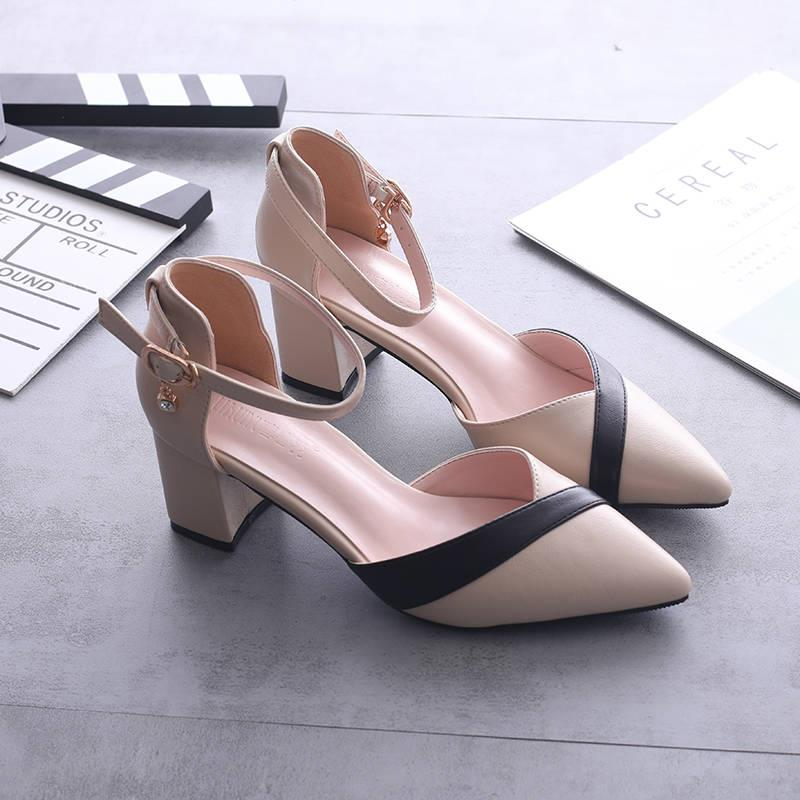 拼色包头高跟鞋2019新款百搭中跟单鞋女粗跟尖头鞋韩版中空凉鞋女