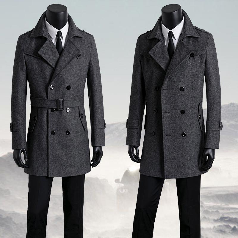 加肥加大码男装呢子大衣男士中长款毛呢外套秋冬青年韩版胖子风衣
