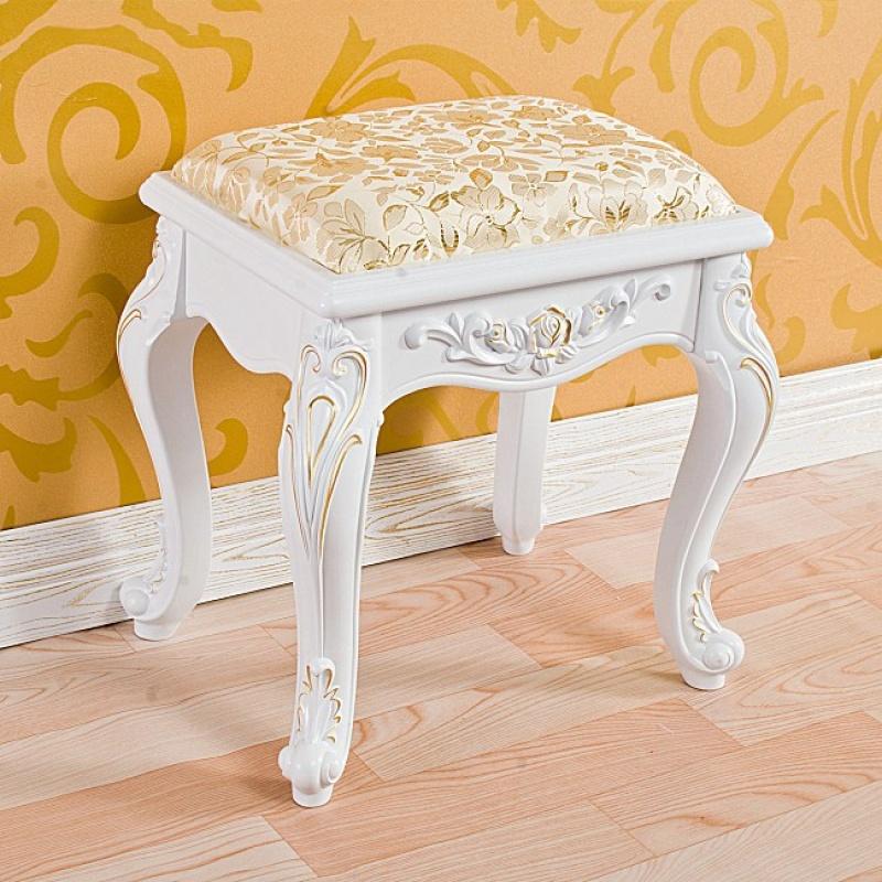 欧式简约白色实木梳妆台凳子韩式田园梳妆凳影楼化妆椅子卧室坐凳