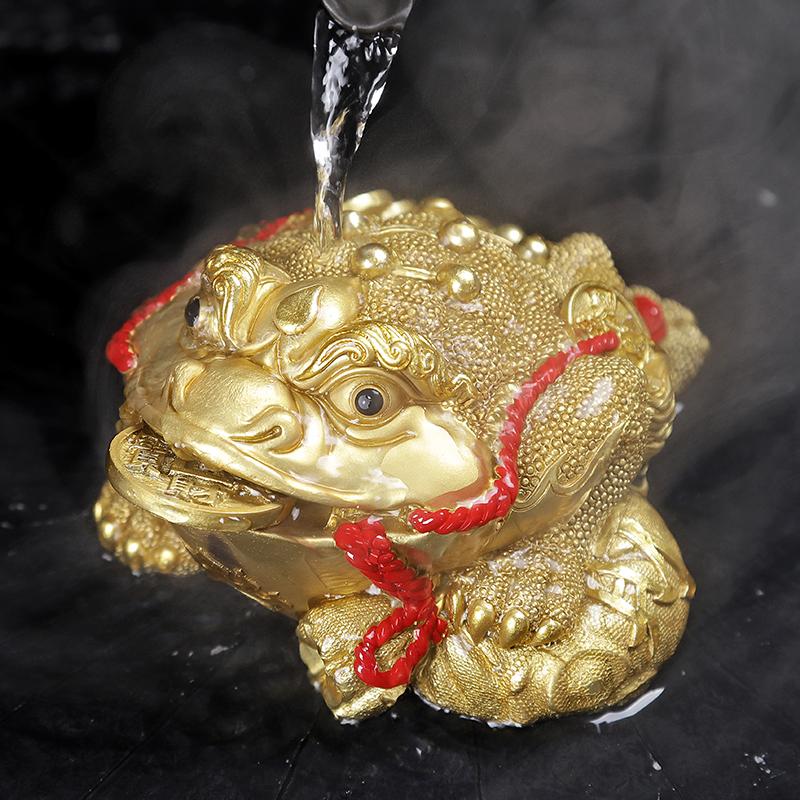 茶宠变色小摆件精品招财金蟾茶宠物创意功夫茶具茶盘配件蟾蜍可养