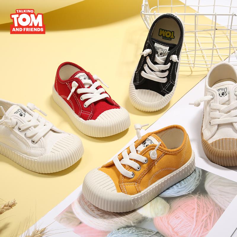 汤姆猫童鞋儿童帆布鞋男童女童小白鞋宝宝鞋幼儿园饼干鞋毛毛虫鞋