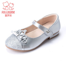 Girls' leather shoes spring 2020 Aisha spring and autumn little princess Leather Crystal Children's shoes baby single shoes