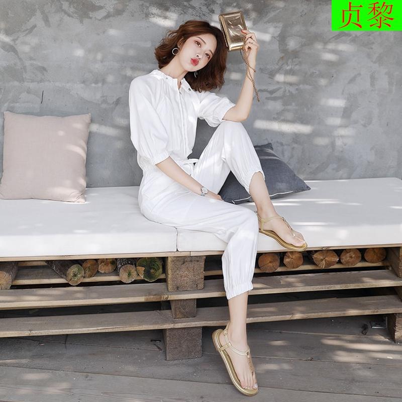 2019春夏装新款韩版女装女神范御姐洋气修身连体裤时髦套装时尚潮