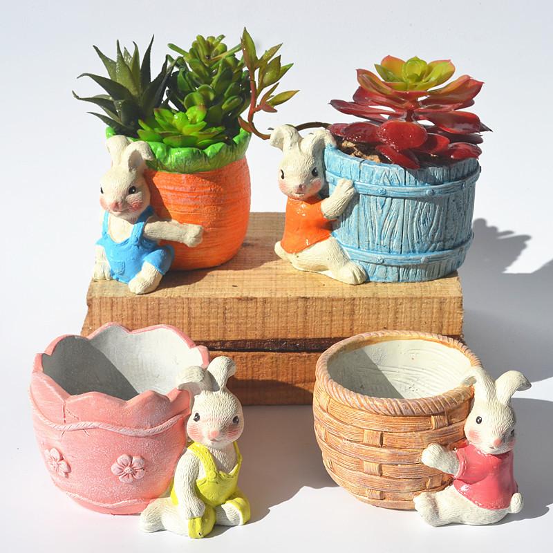 包邮小兔子多肉花盆卡通动物可爱水泥绿植盆栽个性创意拼盘非陶瓷