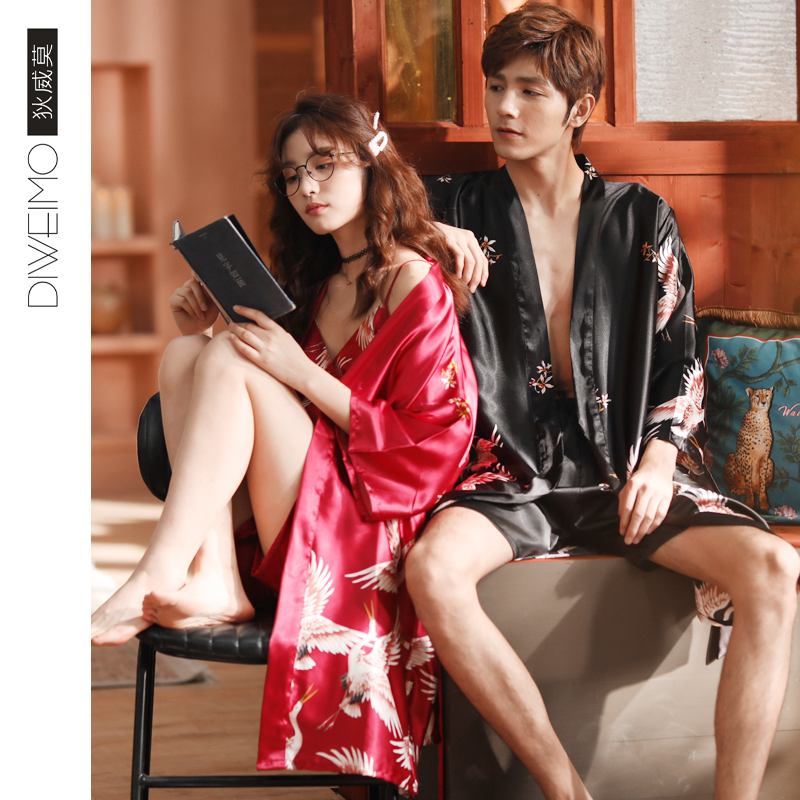 情侣丝绸睡衣女夏日系睡袍两件套复古仙鹤东方绸男薄款冰丝家居服