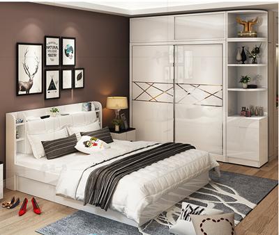 现代简约双人床1.5米主卧收纳气压板式床小户型多功能高箱储物床
