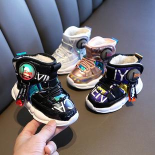 1小宝宝2儿童冬季加绒加厚大棉雪地靴婴儿鞋3男童4岁女童防水靴子