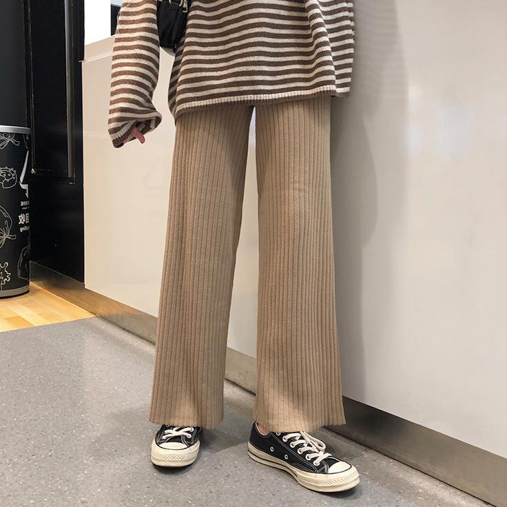 秋装韩版女装加厚针织阔腿裤宽松显瘦休闲裤高腰百搭学生拖地长裤