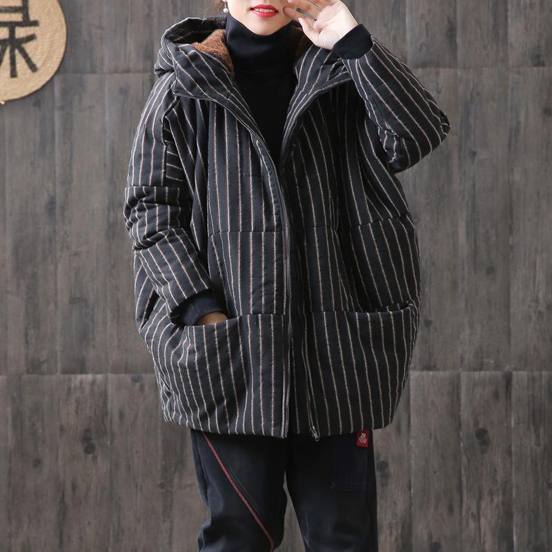 2018冬季新品条纹加绒棉袄女加厚保暖文艺宽松大码中长款棉衣外套