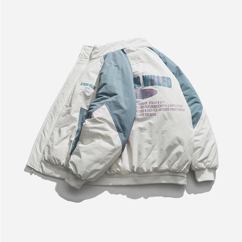 格图力冬季美式机能拼色立领棉服男宽松OVERSIZE嘻哈面包服棉衣潮