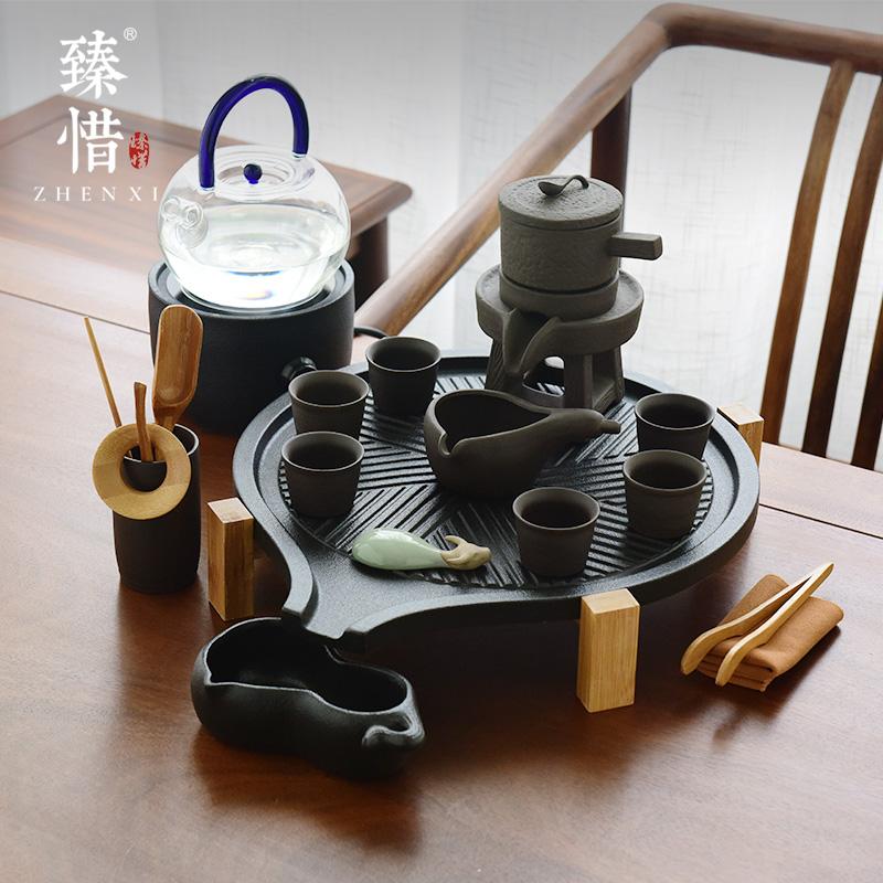 臻惜 黑陶瓷紫砂现代懒人自动功夫茶具套装家用简约干泡小茶盘