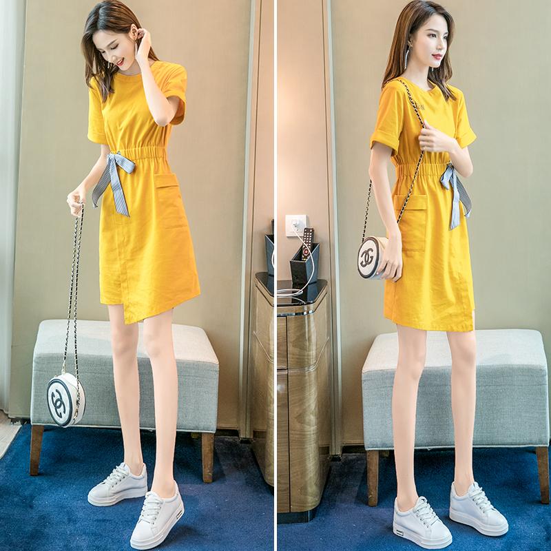 2019流行裙子气质女夏季新款很仙的连衣裙夏款收腰显瘦小清新裙夏