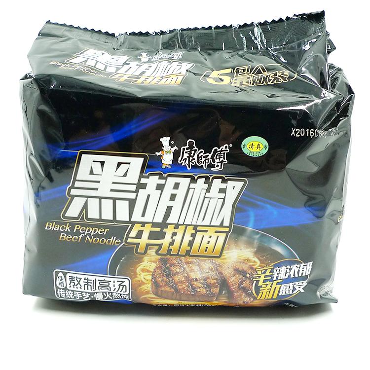 一份包邮 康师傅黑胡椒牛排面五连包 清真牛肉方便面 107克*5袋。