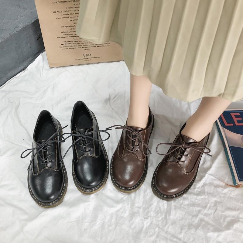 新款潮百搭小皮鞋女英伦风学生软皮日系JK韩版百搭平底牛筋鞋