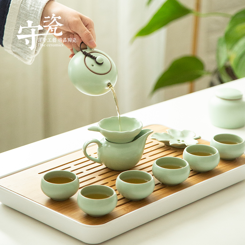 汝窑功夫茶具套装家用简约开片可养汝瓷茶壶茶杯陶瓷茶盘小茶台