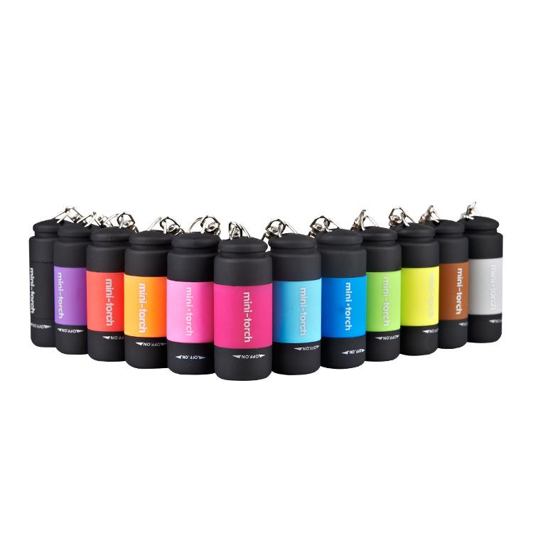 LED手电筒迷你强光USB可充电小型便携宿舍女家用学生儿童钥匙扣灯