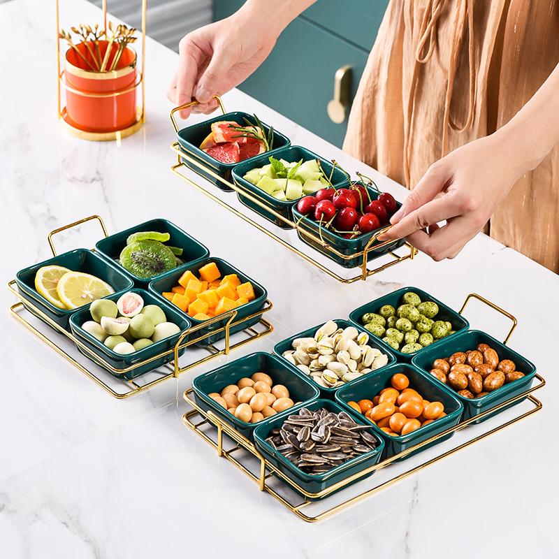 北欧 果盘零食盘 客厅瓜子盘分格干果收纳盒糖果盘家用过年创意