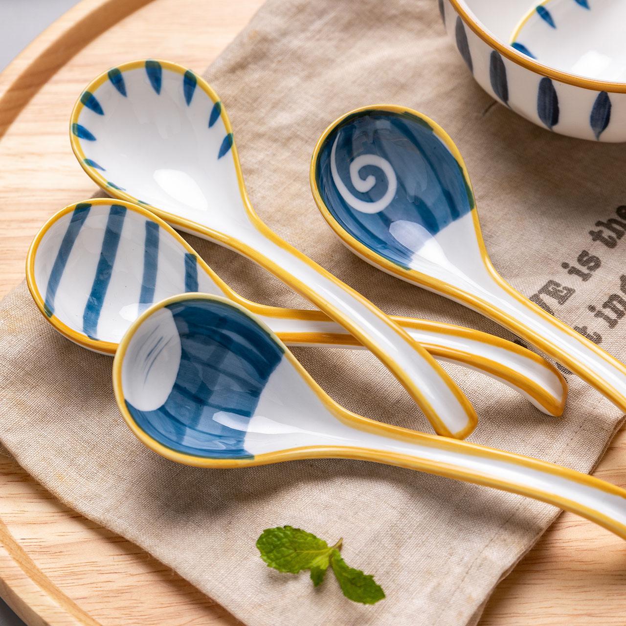 摩登主妇青瑶日式陶瓷勺子创意汤勺匙家用饭勺调羹可爱喝汤勺子