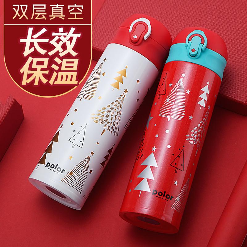 保温杯男女便携304不锈钢学生水杯简约弹跳盖直饮圣诞定制礼品杯