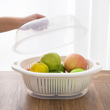 日款创意厨房双层洗菜盆沥水篮塑料大8t14带盖菜yw厅水果盘