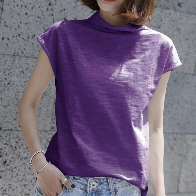 夏季竹节棉宽松短袖t恤女装韩国半袖女上衣大码纯棉半高领打底衫