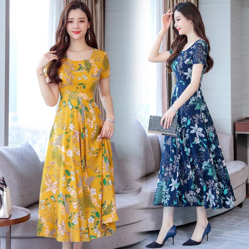 11韩版潮夏季新款大码时尚显瘦连衣裙女装中长款中老年印花裙子女