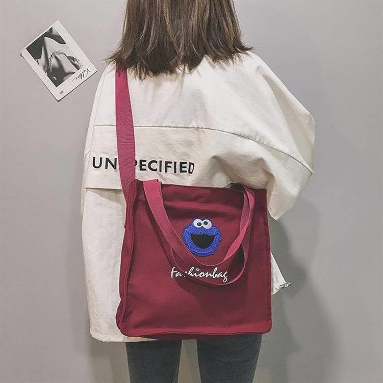 多格多用环保袋女款大包素色帆布包民族风单肩包女学生方包包包小