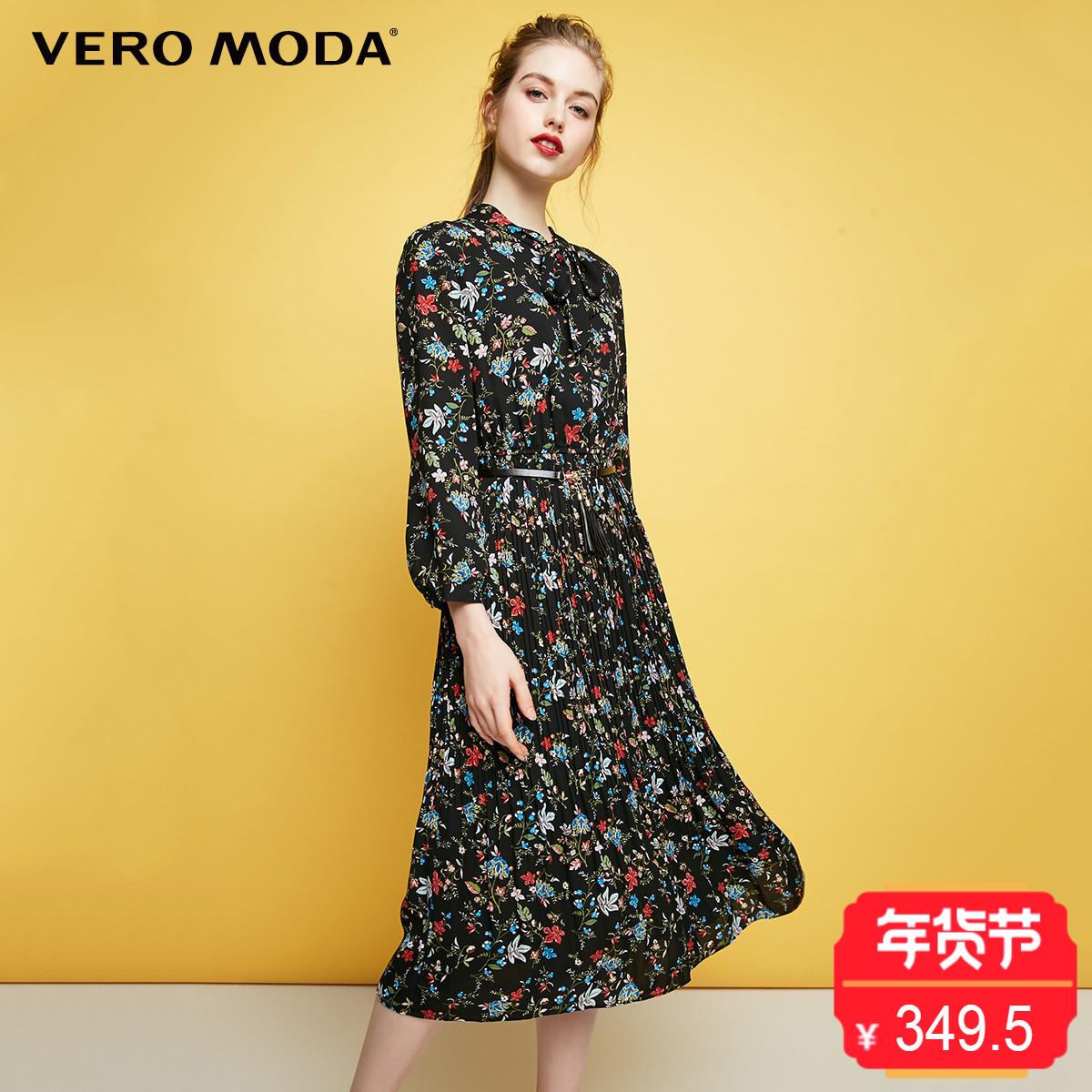 Vero Moda2017冬季新款碎花系带百褶雪纺连衣裙|31747C503