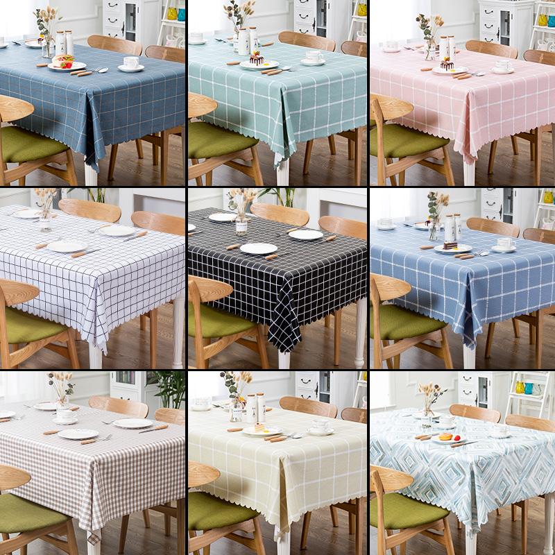 桌布防水防烫防油免洗PVC塑料餐桌垫书桌ins学生布艺台布北欧茶几