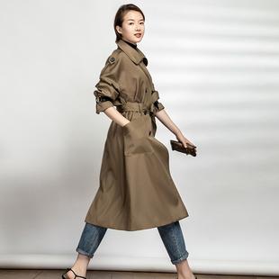Deepso/深邑女装新秋季外套博主同款气质风衣女简约长款英伦百搭图片
