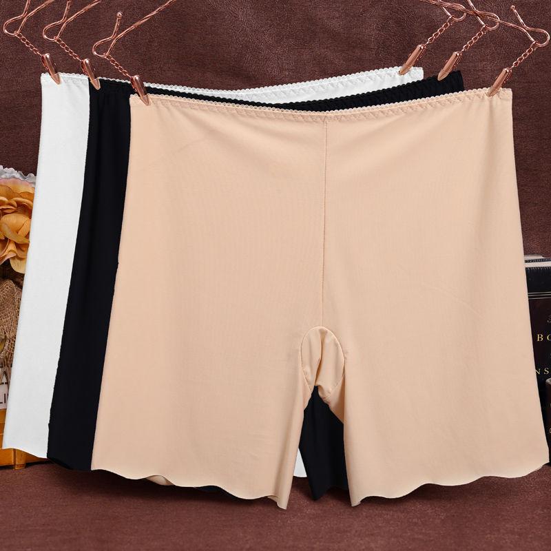 冰丝无痕白色打底防走光安全裤女夏天薄款保险短裤大码胖mm可外穿图片