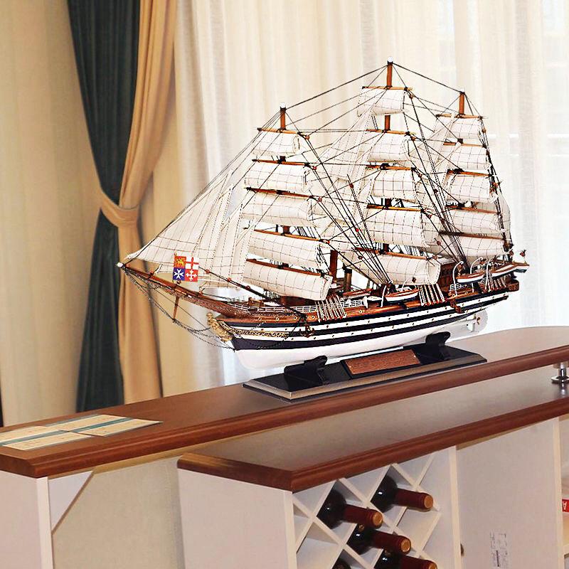 北欧地中海帆船模型摆件现代玄关酒柜装饰品欧式客厅电视柜工艺品