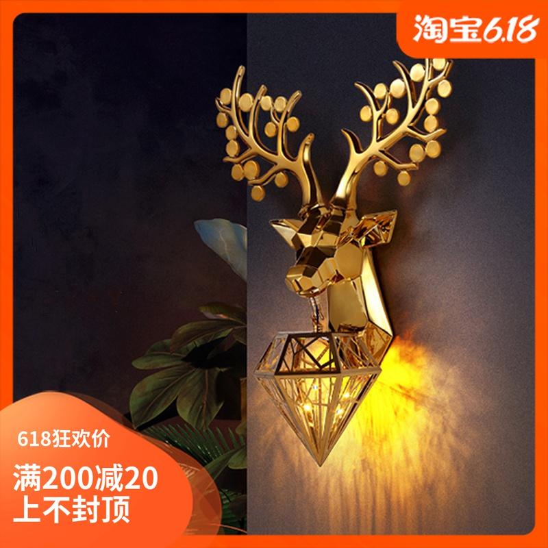 招财鹿头壁灯欧式创意简约客厅电视墙过道楼梯间电镀鹿角灯装饰灯