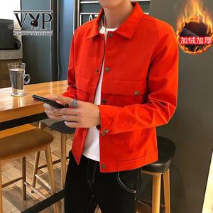 冬季加绒夹克青年男2019冬季春季款修身版型麂皮舒适百搭夹克